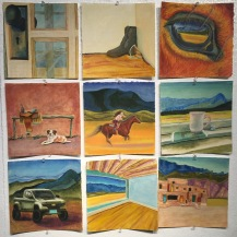 9 individual 9x9 squares on pumiced BFK Rives paper in Chalk Pastel & Liquin