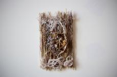 Art Book Page Prototype no.2, grass, flowers, glue, polyurethane, fixative, yarn, sugar. 2016.